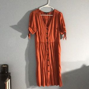 Burnt orange button midi dress